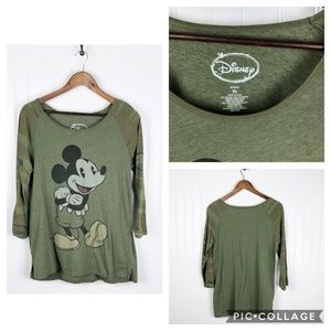 ~Disney, Mickey Mouse~ Light Green Camo T-Shirt